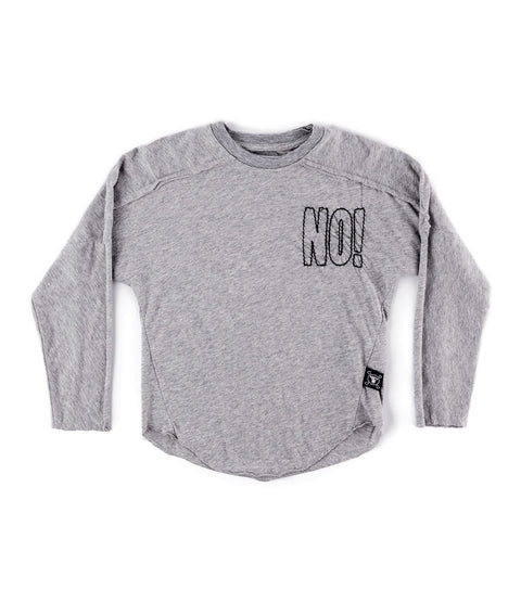 Embroidered No! hemmed shirt - Grey