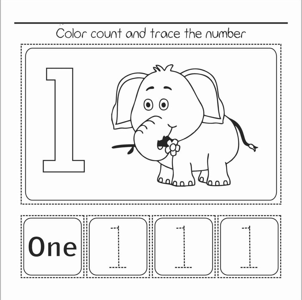 Color and Count to 10 - Activity Book / Coloring Book