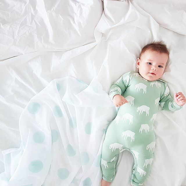 mint green baby spot swaddle bed
