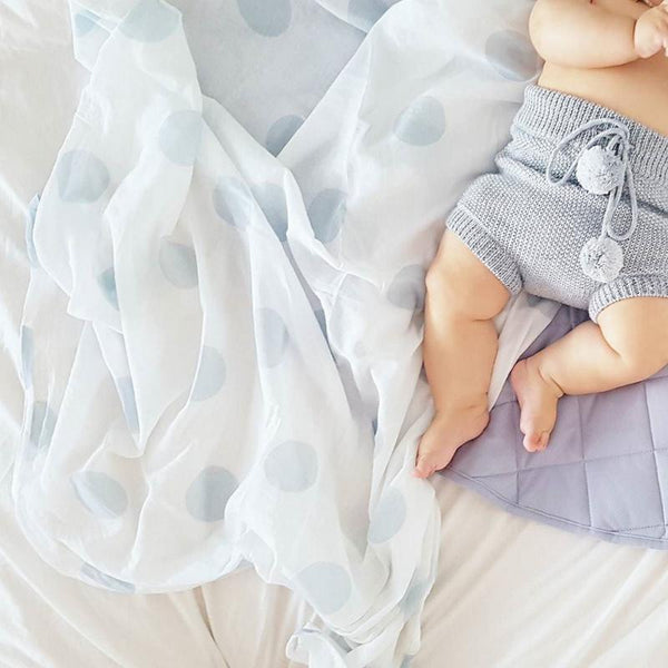 baby blue spot muslin swaddle wrap