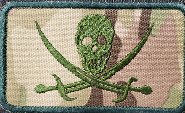 SKULL AND CROSSED SWORDS ON MULTICAM MORALE PATCH