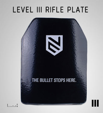 LEVEL III  SHOOTERS CUT RIFLE PLATE BLACK 10X12