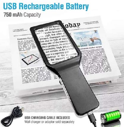 4X USB CHARGED LED MAGNIFIER