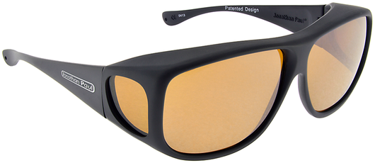 XL - Aviator Matte Black Fitover - Yellow lens (Sunglasses)