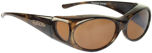 Small - Aurora Brown Marble Fitover - Amber Lens (Sunglasses)