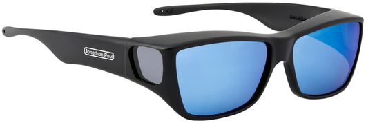 Large - Traveler Satin Black Fitover - Blue Mirror Grey Lenses (Sunglasses)