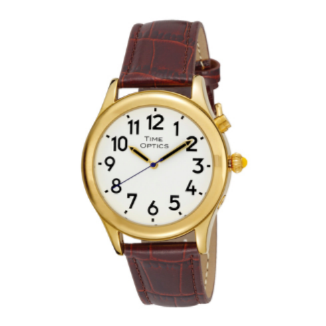Time Optics Gents Watch Gold Leather