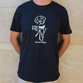 Guide Dogs WA HangDog Art Limited Edition Mens T-Shirt Large - Navy Blue
