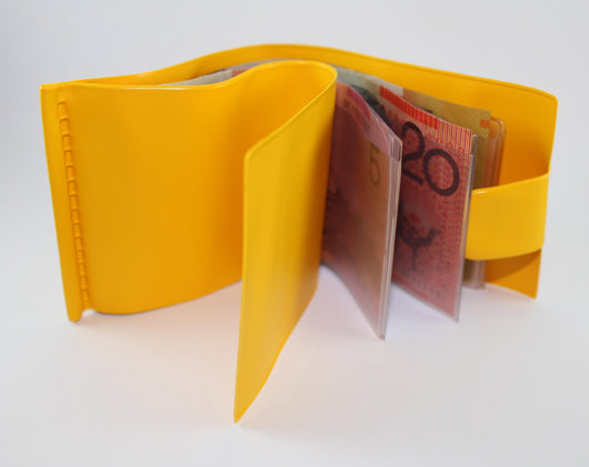 Note Wallet Plastic  Black, Yellow, Blue, White, Red, Orange Black