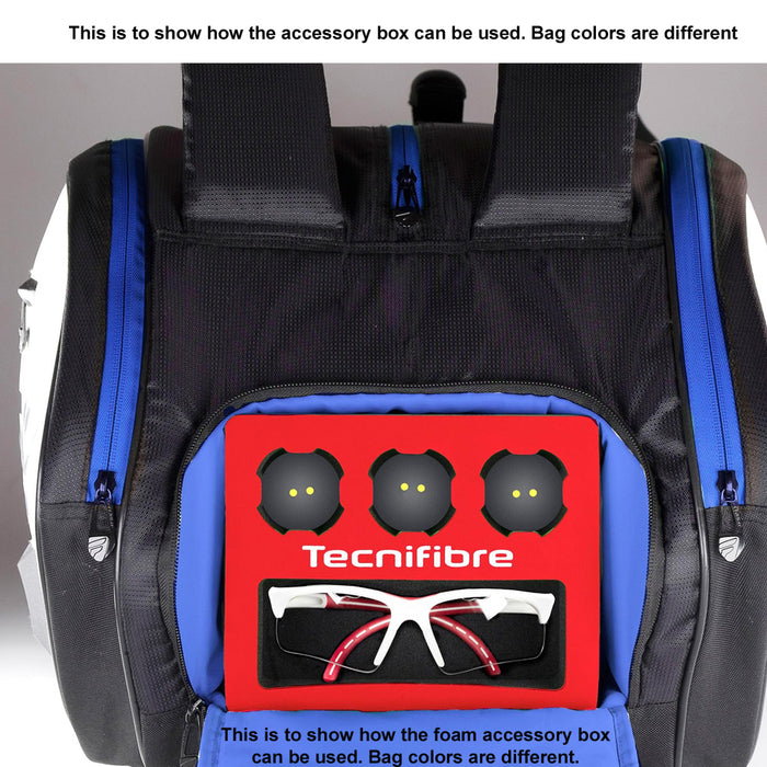 Tecnifibre Air Endurance 12r racquet bag. Accessory foam box storage for squash balls and glasses.
