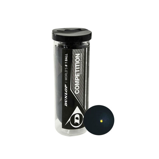 dunlop competition squash ball single yellow dot for faster play longer rallies