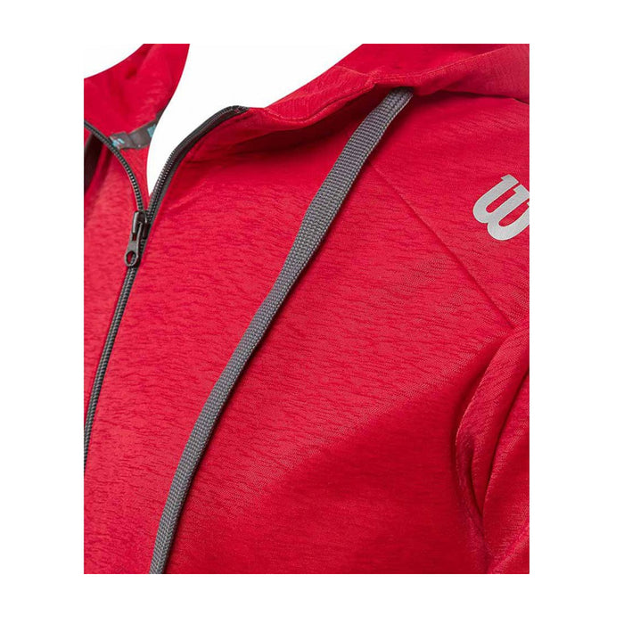 Wilson training jacket red hood grey wilson logo squash tennis badmonton pickleball