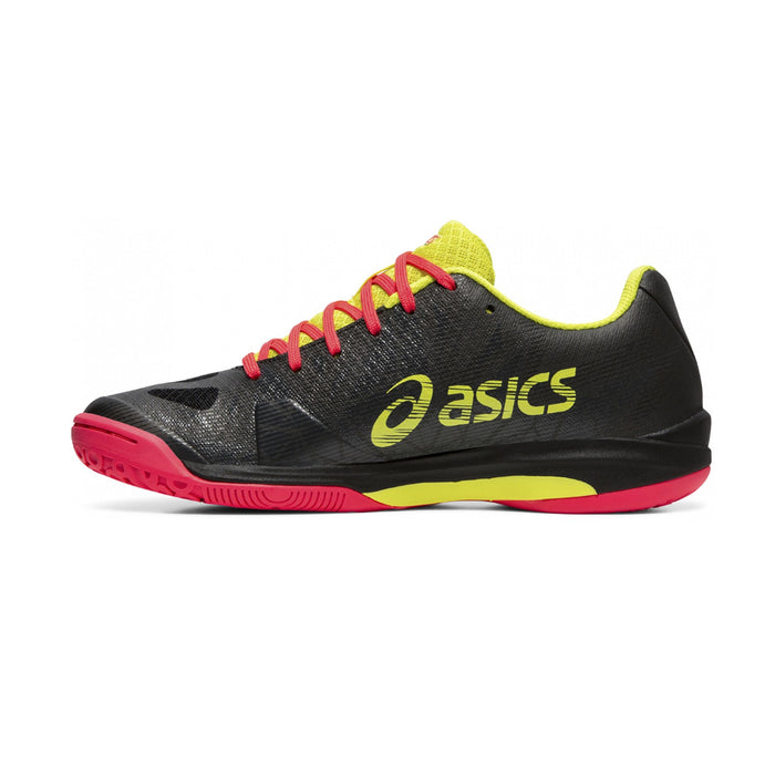 Asics Fastball 3 for women - indoor court for pickleball, squash, and badminton. Black, yellow, and pink colorway.