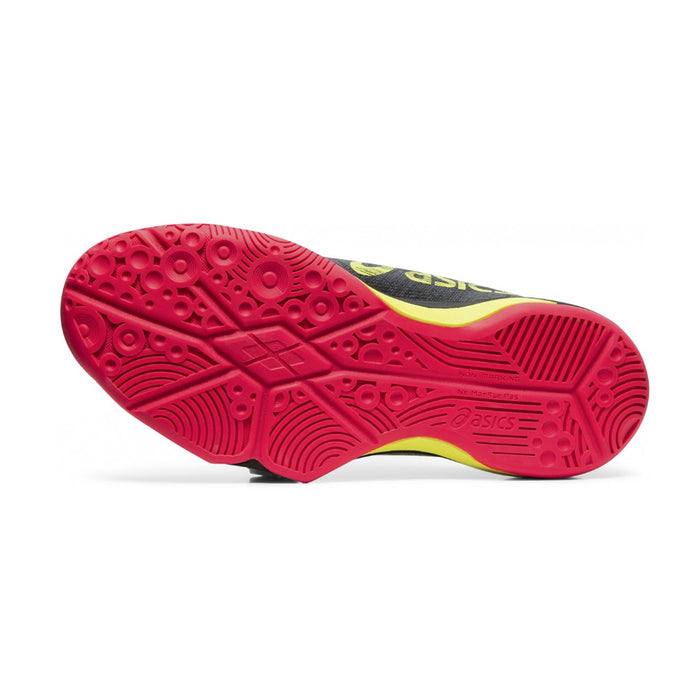 Asics Fastball 3 for women - indoor court for pickleball, squash, and badminton. Black, yellow, and pink colorway. Picture of the sole.