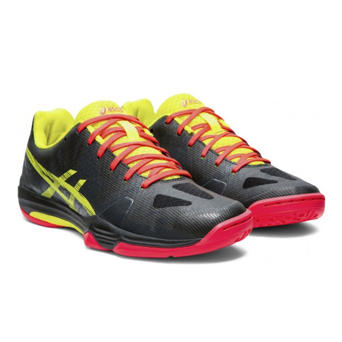 Asics Fastball 3 for women - indoor court for pickleball, squash, and badminton. Black, yellow, and pink colorway. Picture of the front.