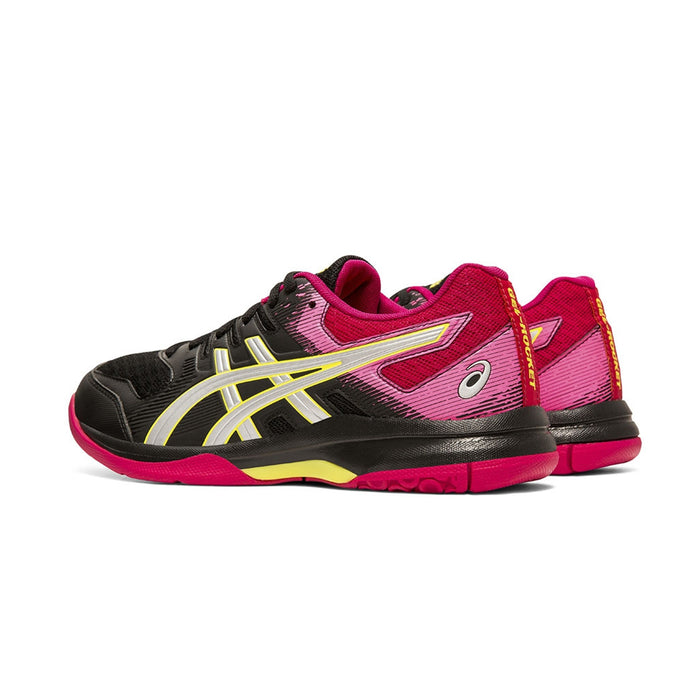 Asics Fastball 3 womens indoor court shoe for pickleball, badminton and squash. Black Pink and silver.