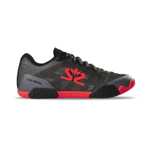 The Salming Hawk Indoor court shoe now in gunmetal color for squash, badminton, and pickleball.