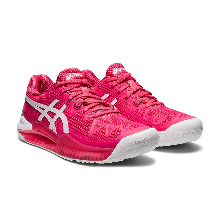 asics gel reolution 8 pink cameo tennis pickleball hardcourt shoe footwear durable supportive kingston ontario canada racquetscience side view