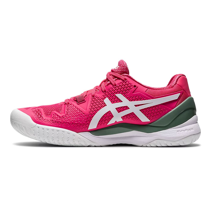 asics gel reolution 8 pink cameo tennis pickleball hardcourt shoe footwear durable supportive kingston ontario canada racquetscience medial view