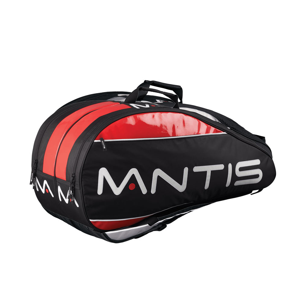 Mantis Pro 6 bag - in black & red - to carry all your tennis, squash, or badminton gear.