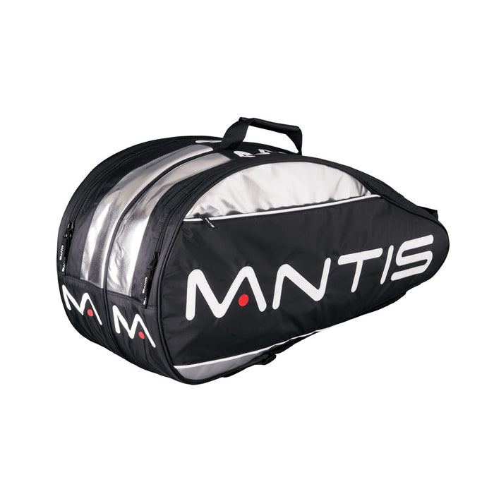 Mantis Pro 6 bag - in black & silver - to carry all your tennis, squash, or badminton gear.