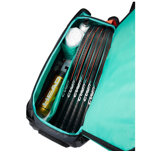 head gravity sport bag tennis pickleball squash badminton duffle bag dividers 6 racquet inside view