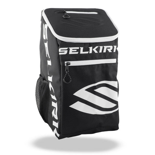 Selkirk team backpack for pickleball multiple pockets black white strong material comfortable