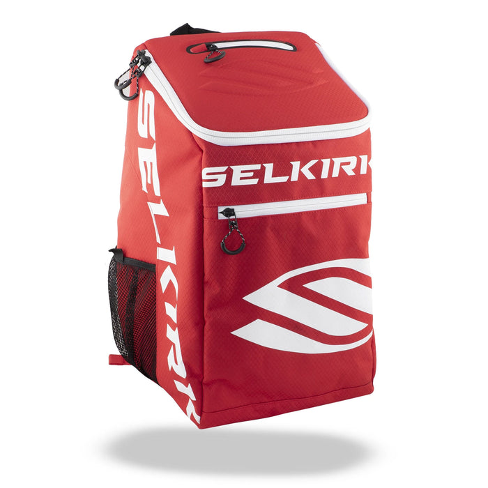 selkirk team backpackpack pickleball bag streamlined white and red