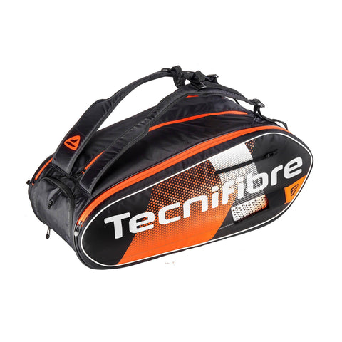 Tecnifibre Air Endurance 12r racquet bag. Orange / black / white colorway. Great for squash, tennis, pickleball, and badminton.