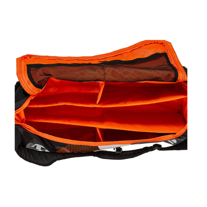 Tecnifibre Air Endurance Rackpack orange / black colors. Duffel style with lots of organizational pockets for squash, pickleball, tennis, and badminton.