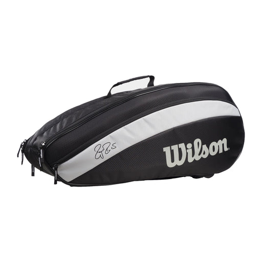 wilson rf team 6 pack 2 comprtment tennis squash badminton bag black and silver federer