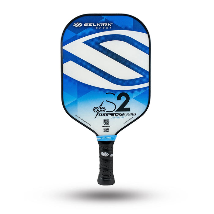 Selkirk S2 Amped 2020 Lightweight pickleball paddle in Saphire Blue color.