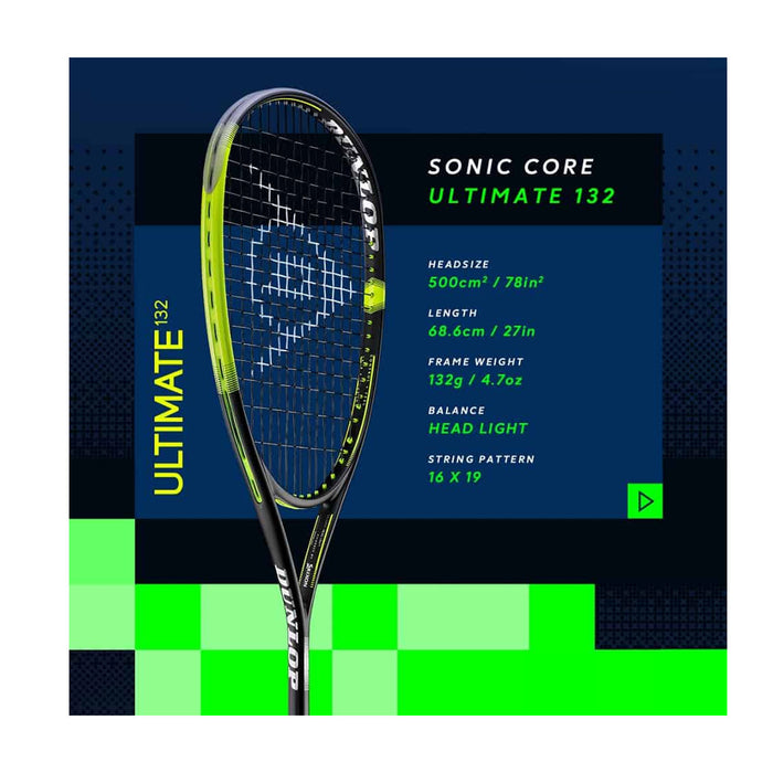 dunlop soniccore sonic core ultimate 135 diego elias peru squash racquet new stable power 16x19
