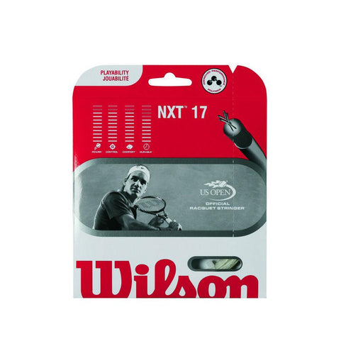 Wilson NXT 17 tennis string thinner for more performance. Bigger power feel than sensation 17. Good for tennis elbow and shoulder wrist sufferers