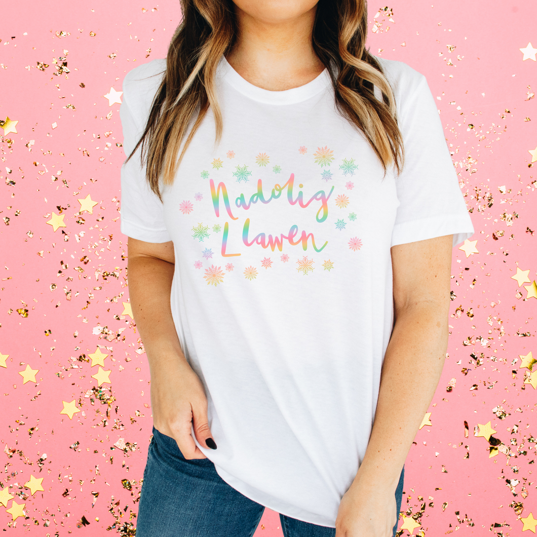 RAINBOW SNOWFLAKES | Christmas T Shirt - Queen B and Co.