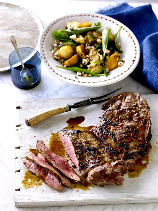 BBQ butterflied Lamb with chilli-vegetable salad