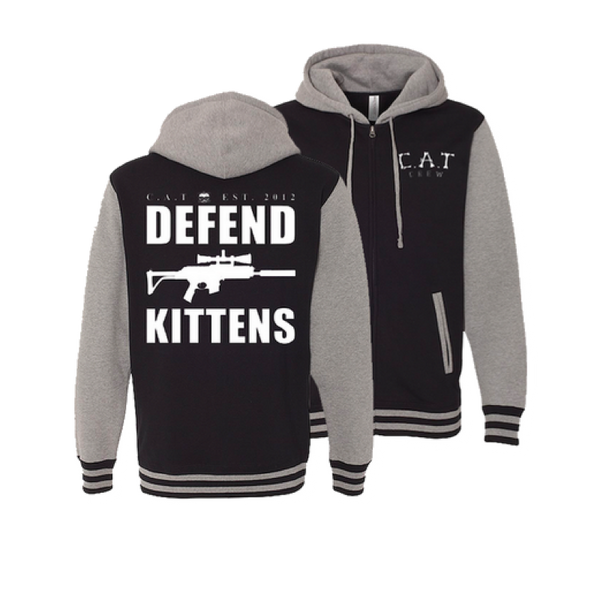DEFEND KITTENS ZIP-UP HOODIE