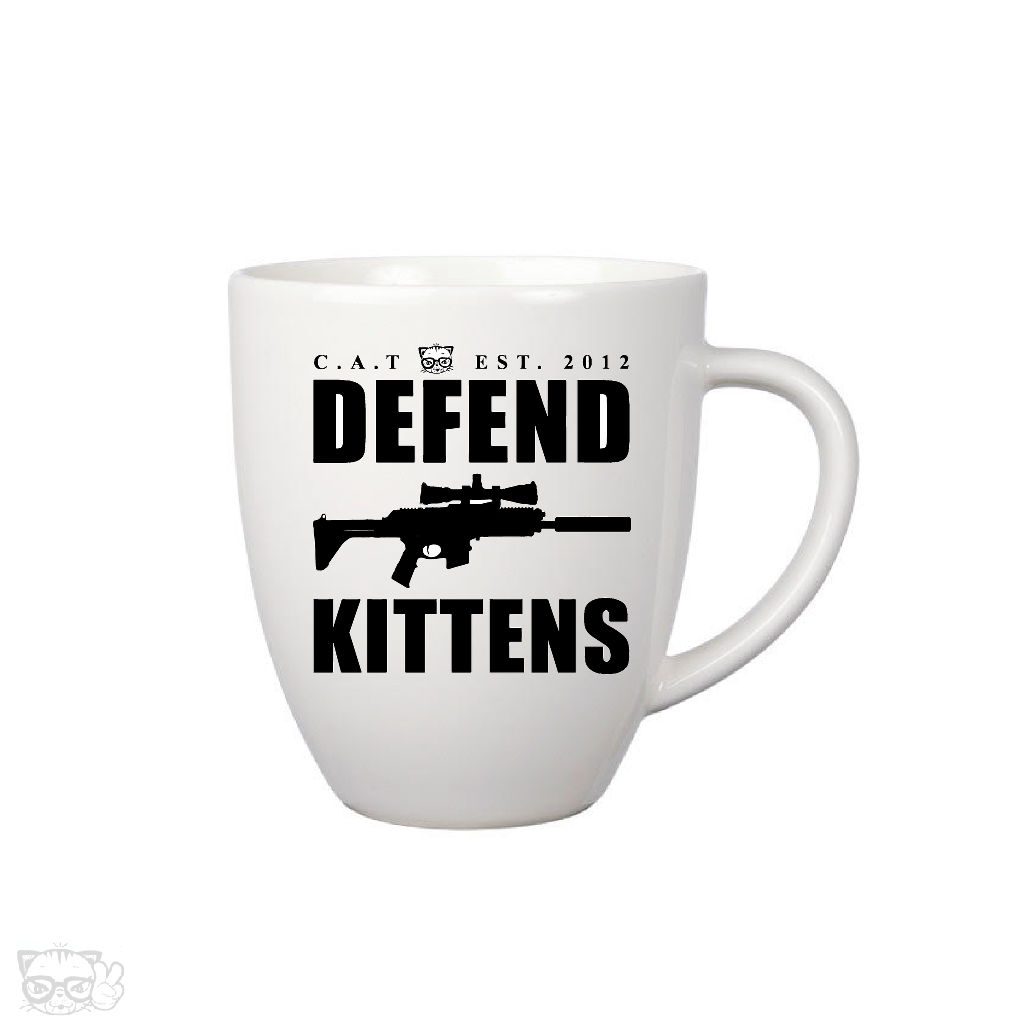 DEFEND KITTENS 12oz COFFEE MUG