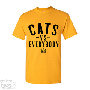 CATS VS EVERYBODY T-SHIRT-Yellow