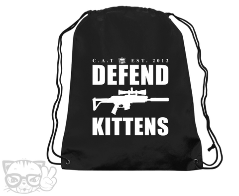 DEFEND KITTENS DRAWSTING BAG