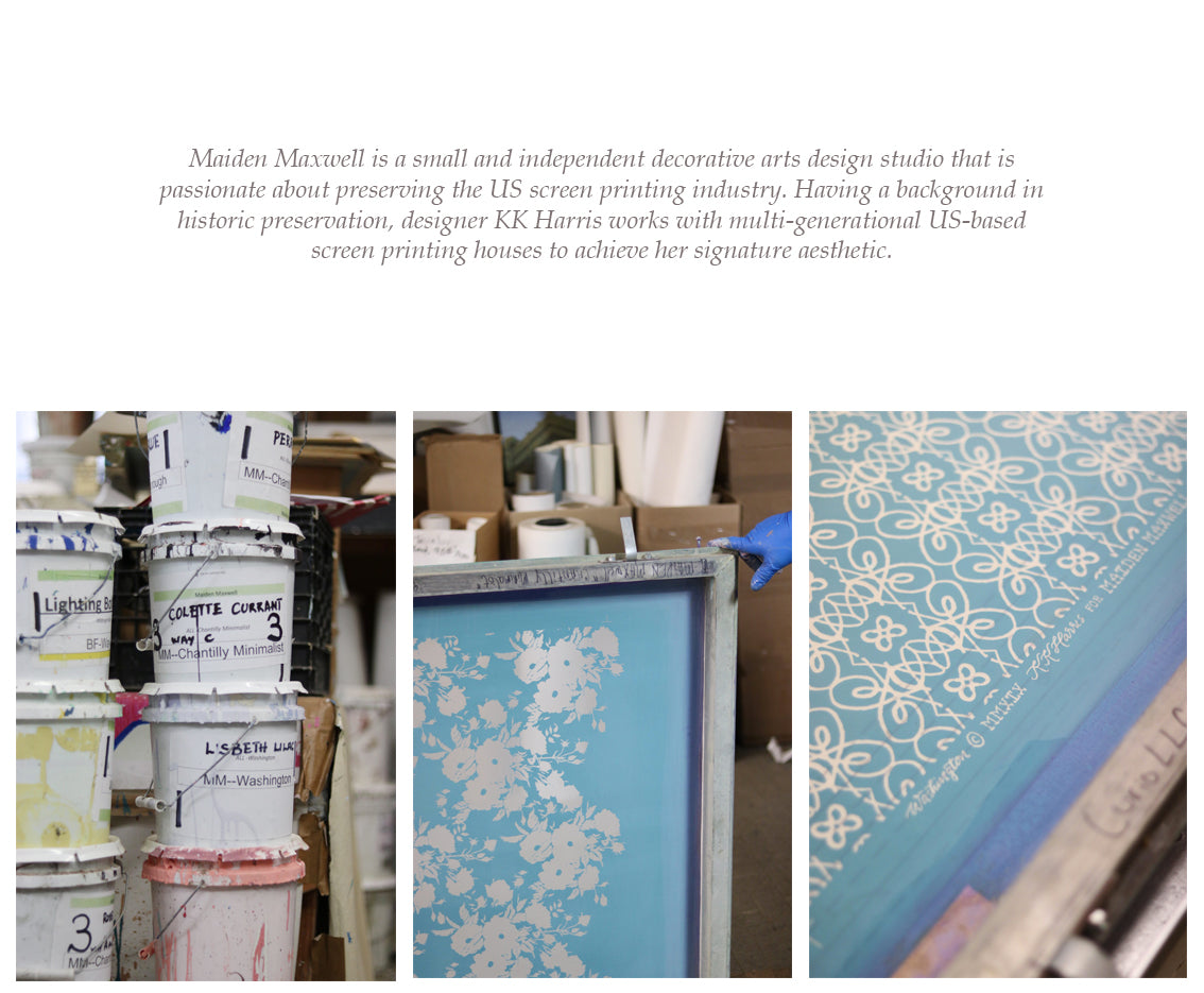 Maiden Maxwell KK Harris fabrics and wallpapers screen printed in the US