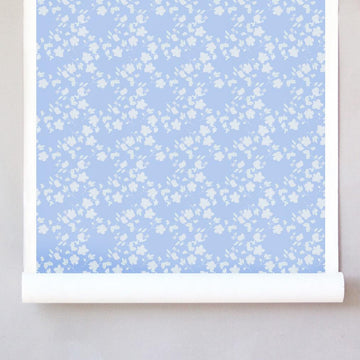 Pleased as Punch Raw Silk Wallcovering - Perrie and Blue
