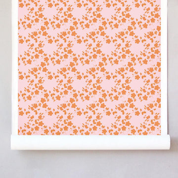 Pleased as Punch Raw Silk Wallcovering - Odette Orange and Pink