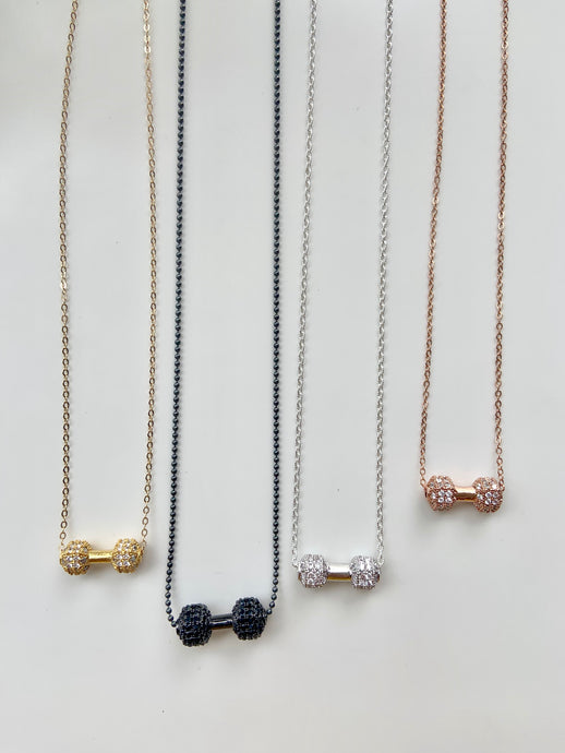 Dumbbells & Diamonds Necklace