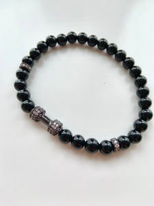 Dumbbells & Diamonds Stretch Bracelet in Black