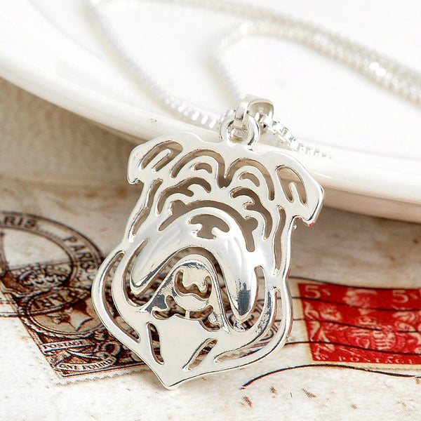 Silver English Bulldog Necklace and Pendant