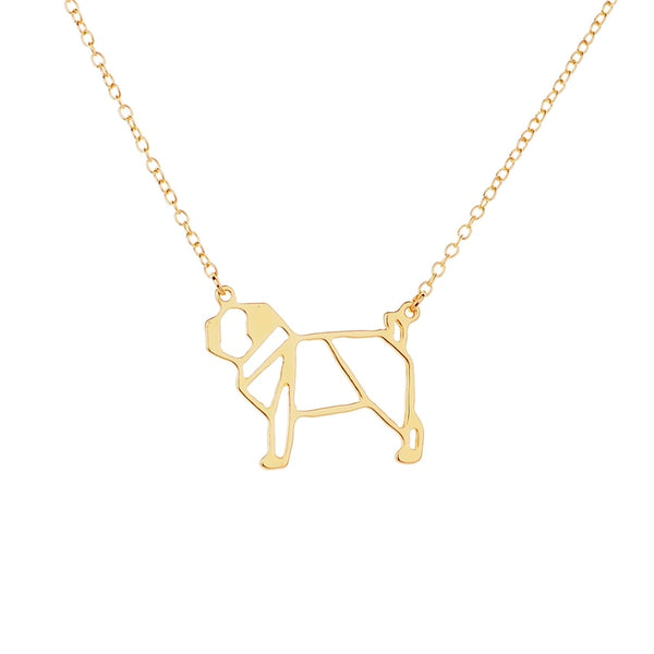Pug Geometric - Necklace Dog Pendant and Chain
