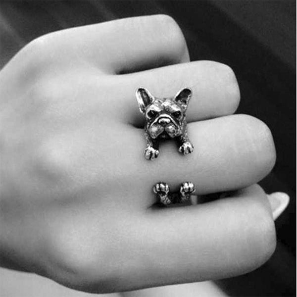 Adjustable Vintage Handmade French Bulldog Ring - Antique Gold, Silver or Black