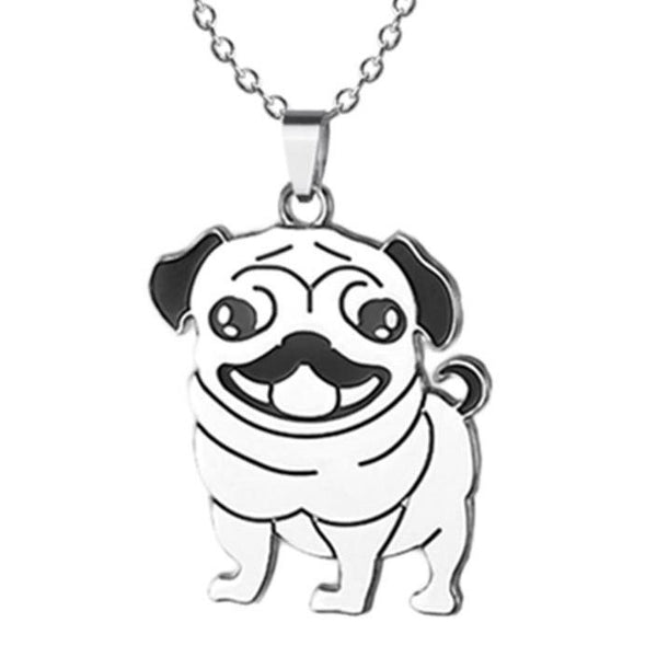 Fun Pug Pendant Necklace - Stainless Steel Charm with Chain