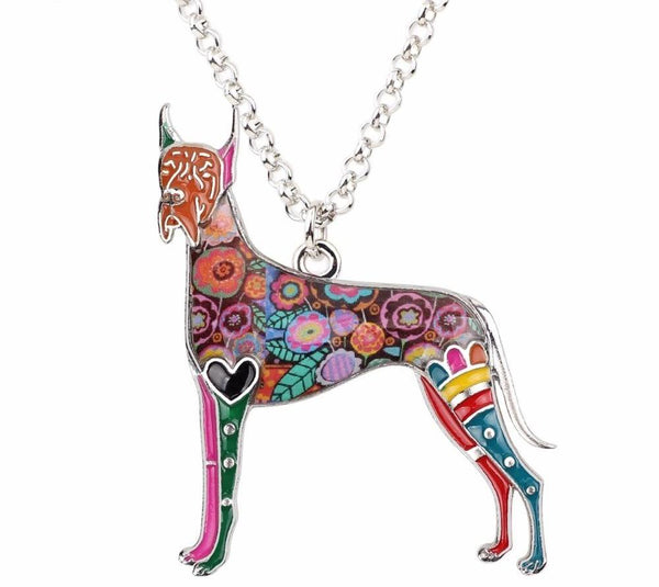 Metal Alloy Enamel Great Dane Necklace and Chain